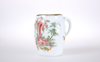 AN ENAMEL DECORATED OPAQUE WHITE MILK GLASS TANKARD