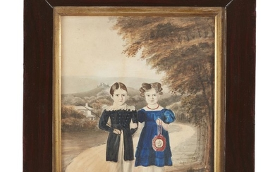 American School 19th century Portrait of two children on...