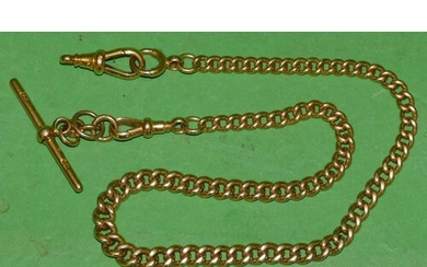 An 18ct Gold Graduated Linked Watch Chain with T bar, 37.5cm...