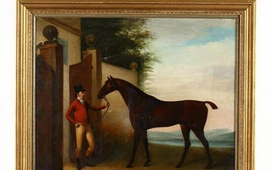 An Antique English School Portrait of a Horse and Rider