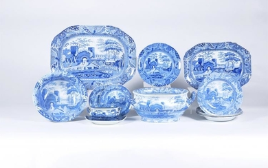 An assortment of mostly Spode blue and white printed 'Castle' pattern pearlware