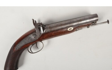 An early 19th century double barrel percussion cap pistol by...