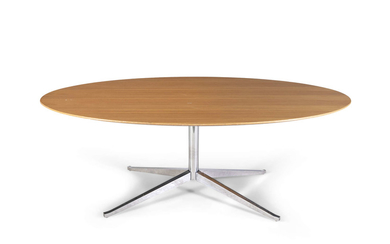 An oak topped oval table,...