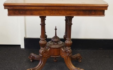 Antique walnut card table with inlaid fold over swivel top, ...