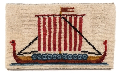 Artist unknown, 20th century.: A wool tapestry decorated with a viking ship. 20th century. 67×115 cm.