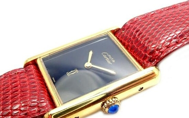 Authentic! Cartier Tank Vermeil 925 Unisex Manual Wind