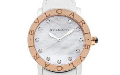 BVLGARI | BVLGARI BVLGARI, A Pink Gold and STAINLESS STEEL WRISTWATCH WITH DIAMOND-SET INDEXES AND MOTHER-OF-PEARL DIAL, CIRCA 2019