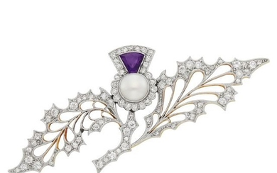Belle Époque Platinum, Gold, Freshwater Pearl, Amethyst and Diamond Holly Brooch