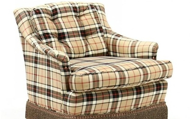 Burberry Style Upholstered Club Chair