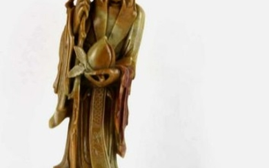 CHINESE FINE SOAPSTONE CARVED IMMORTAL FIGURE
