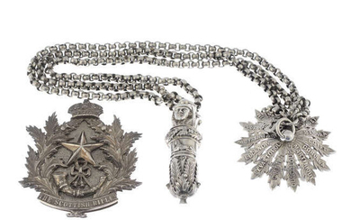 Cameronians (Scottish Rifles), a late 19th century silver badge with crossbelt, star, and whistle.