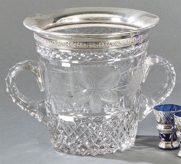 Carved glass and engraved glass cooler and Spanish