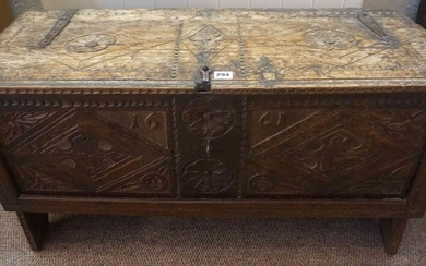 Charles II Carved Oak Coffer, Inscribed with the date 1661, carved with floral roundels and