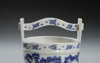 Chinese Blue and White Flower Basket