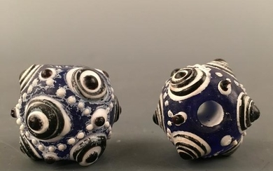 Chinese Glass Flydragon Eye Bead Pair