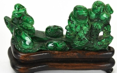 Chinese Hand Carved Malachite Statue W Stand
