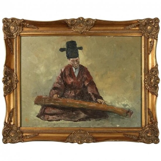 Chinese O/O/C Painting of Musician Playing Guqin