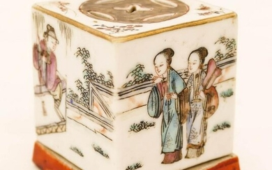 Chinese Qing Porcelain Cricket Box 2''x1.75''. A