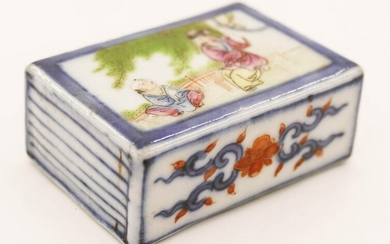 Chinese Qing Porcelain Scroll Weight .75''x2''x1.5''.