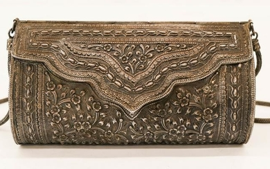 Chinese Silver Repousse Purse with Prunus Flowers