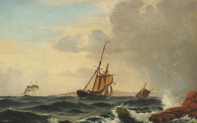Christian Blache: Rocky coast with ships in high seas. Signed and dated Chr. Blache, 1868. Oil on canvas. 24×32 cm.