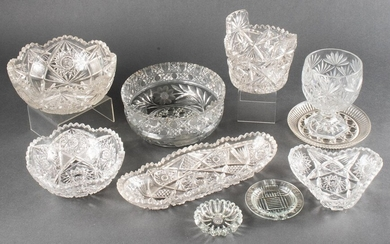 Collection of Cut Crystal & Pressed Glass, 10 Pcs.