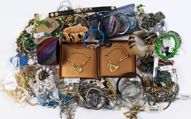 Collection of plastic, wood and metal costume jewelry