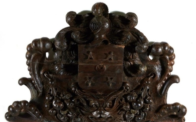 Continental carved walnut/oak coat of arms