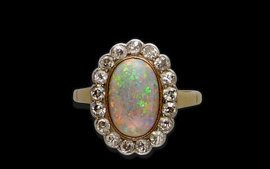Crystal Opal and Diamond Ring