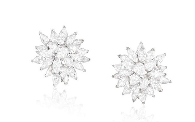Description AN IMPORTANT PAIR OF DIAMOND EARCLIPS Composed of...