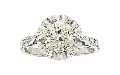 Diamond, Platinum, White Gold Ring The ring features a...