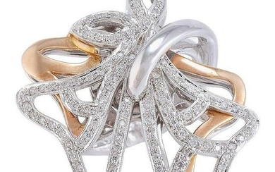 Diamonds Rose and White Gold Ring