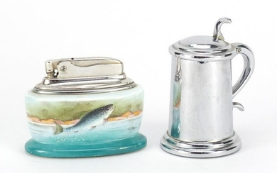 Dunhill chrome table lighter in the form of a tankard