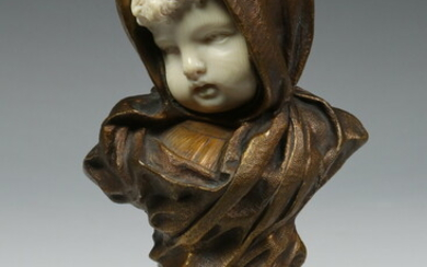 EARLY 20TH C. FRENCH BRONZE & IVORY BUST PORTRAIT