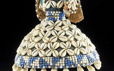 Early 20th C. Kuba or Kete Hat w/ Cowrie Shells & Beads