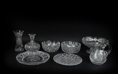 Eight (8) Etched Brilliant Glass Tableware