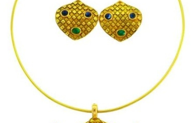 Emerald Sapphire Gold NECKLACE and EARRINGS Set French