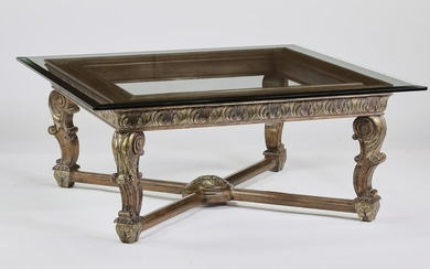 Empire style carved coffee table w/ beveled glass