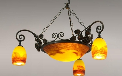 FRENCH ART DECO DEGUE GLASS CHANDELIER