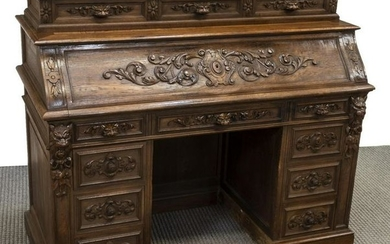 FRENCH HENRI II STYLE CARVED OAK FALL FRONT DESK