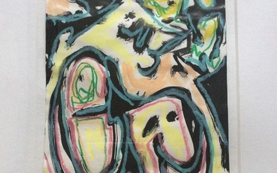 Finn Pedersen: Composition. Signed Finn Pedersen 1993. Oil pastel and watercolour on paper. Visible size 29×21 cm.