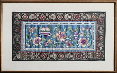Floral Pattern on Blue, Emroidered Silk Cloth with