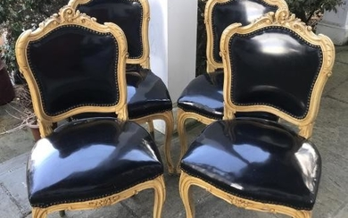 Four Antique Hand Carved & Painted Side Chairs