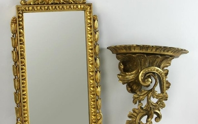 French Giltwood Mirror and Shelf