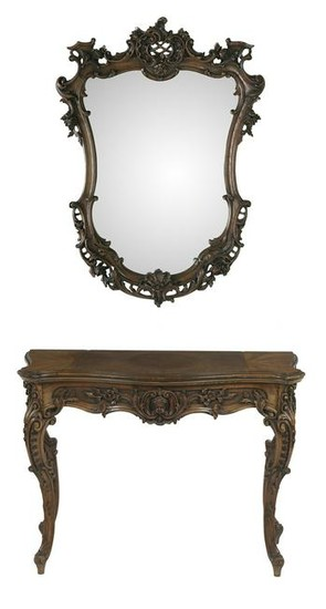 French-Style Walnut Console Table and Mirror