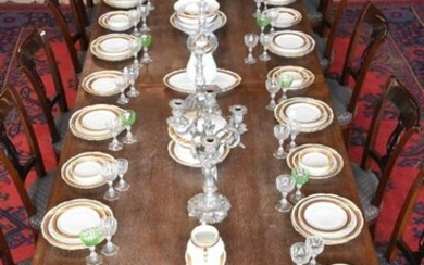 French porcelain dinner service with red and gold...