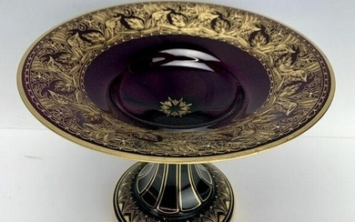 GILT MOSER AMETHYST GLASS FOOTED BOWL