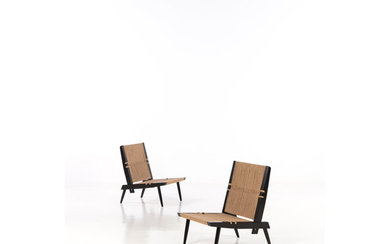 George Nakashima (1905-1990) Pair of lounge chairs Rosewood and seagrass 'NDDB 029/0003' plaque Creation date: circa 1968 ...