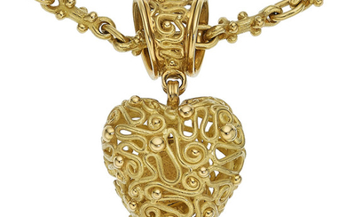 Gold Pendant-Necklace The 18k gold pendant-necklace weighs 82.60 grams....