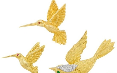 Gold and Diamond Bird Brooch and Pair of Hummingbird Pins